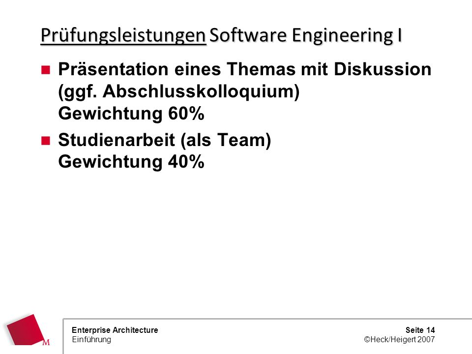 Prüfungsleistungen Software Engineering I
