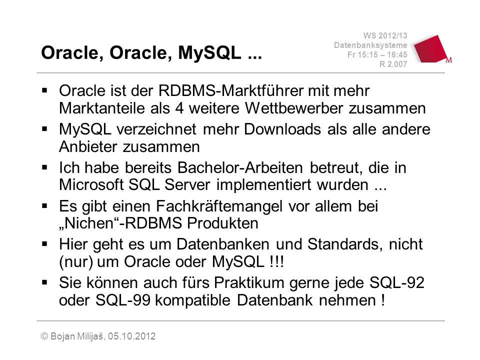 Oracle, Oracle, MySQL ... Oracle ist der RDBMS-Marktführer mit mehr Marktanteile als 4 weitere Wettbewerber zusammen.