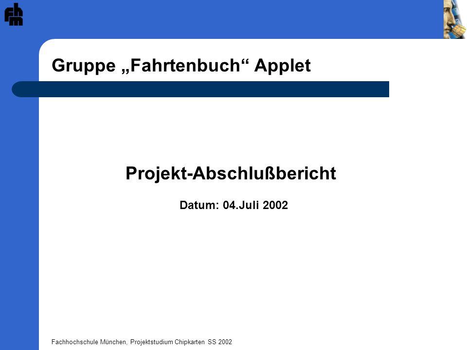 "Gruppe ""Fahrtenbuch Applet"