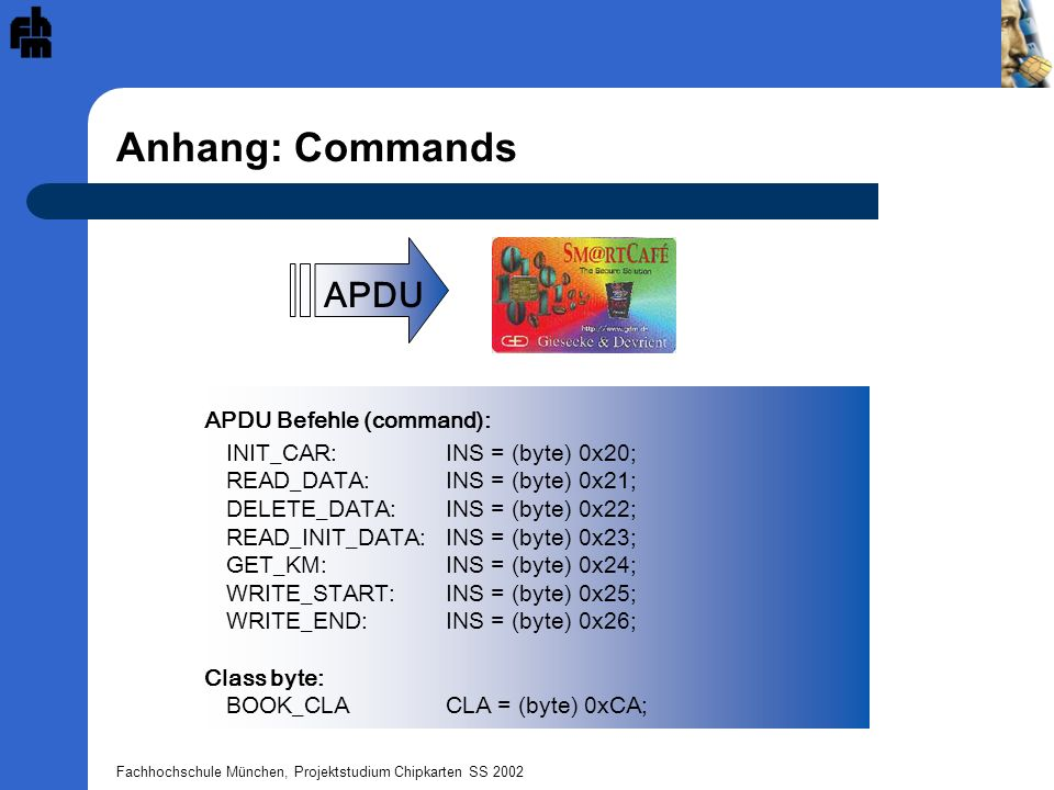 Anhang: Commands APDU APDU Befehle (command):