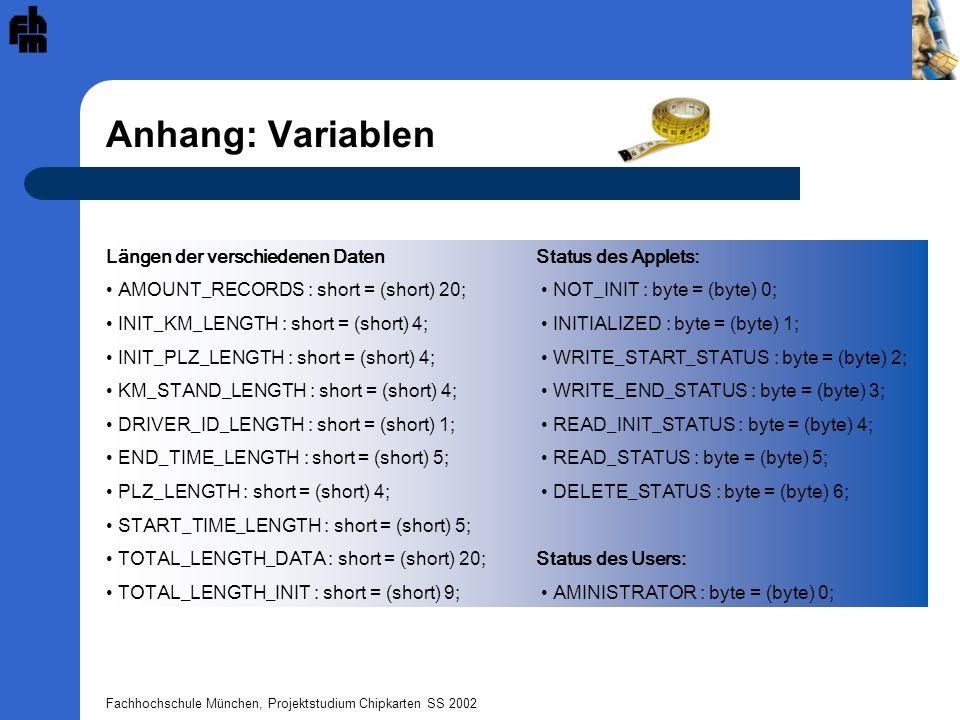 Anhang: Variablen Längen der verschiedenen Daten Status des Applets: