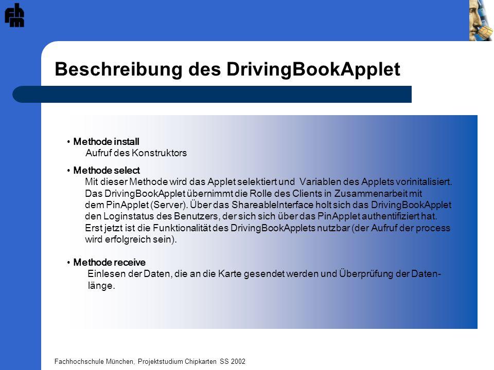 Beschreibung des DrivingBookApplet