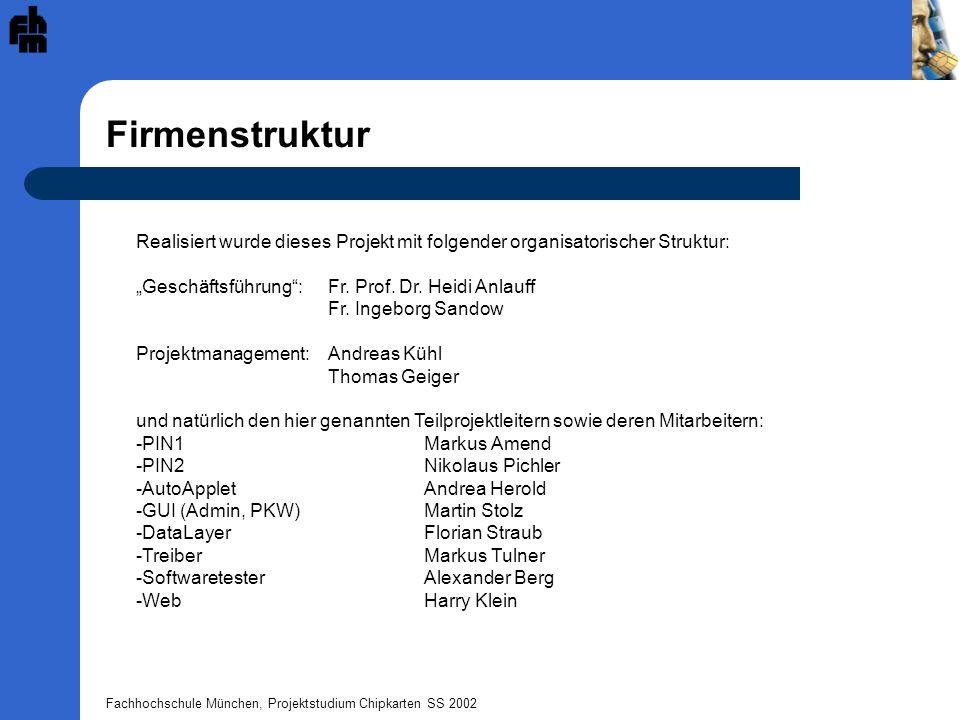 """Firmenstruktur Realisiert wurde dieses Projekt mit folgender organisatorischer Struktur: """"Geschäftsführung : Fr. Prof. Dr. Heidi Anlauff."""