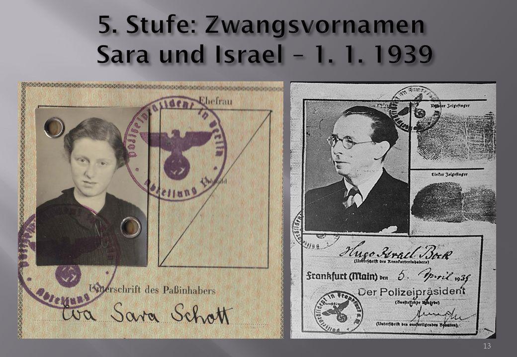 5. Stufe: Zwangsvornamen Sara und Israel – 1. 1. 1939