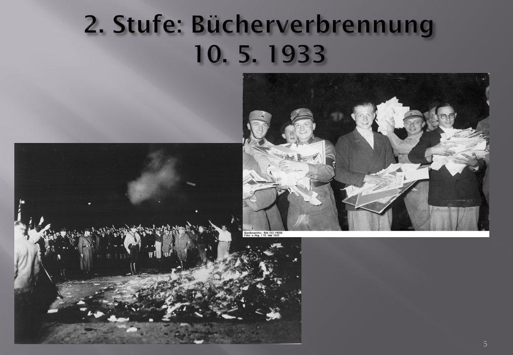 2. Stufe: Bücherverbrennung 10. 5. 1933