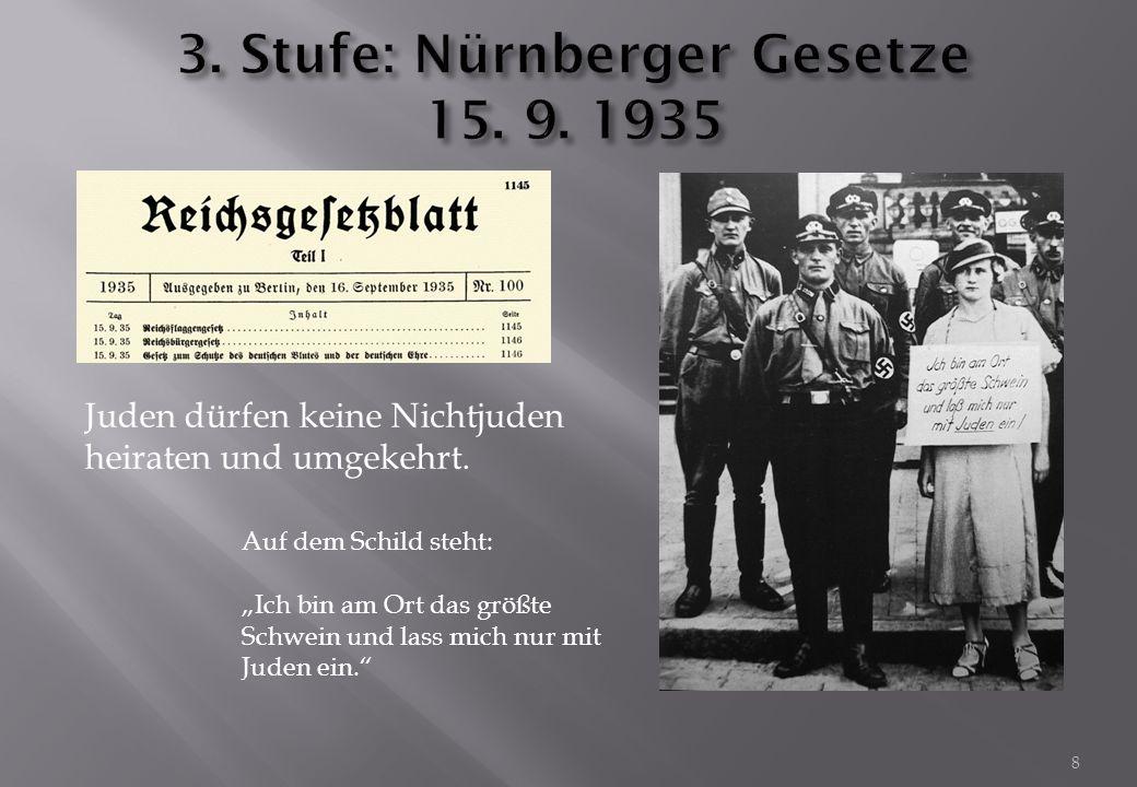 3. Stufe: Nürnberger Gesetze 15. 9. 1935