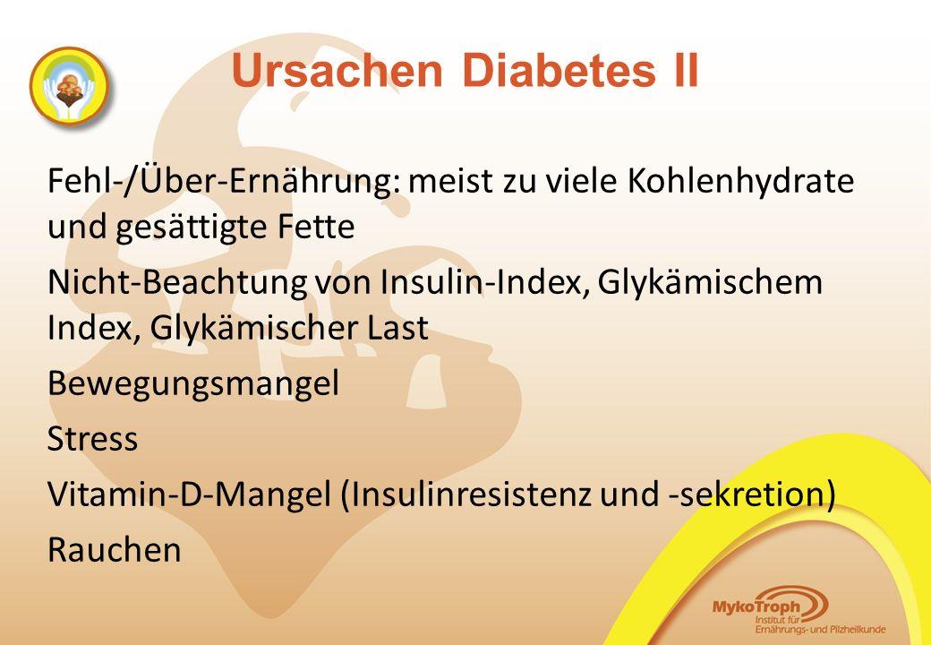 06.11.14 06.11.14. Ursachen Diabetes II. Fehl-/Über-Ernährung: meist zu viele Kohlenhydrate und gesättigte Fette.