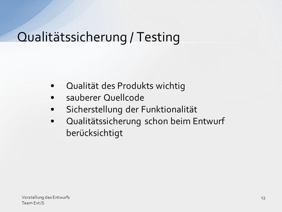 Qualitätssicherung / Testing