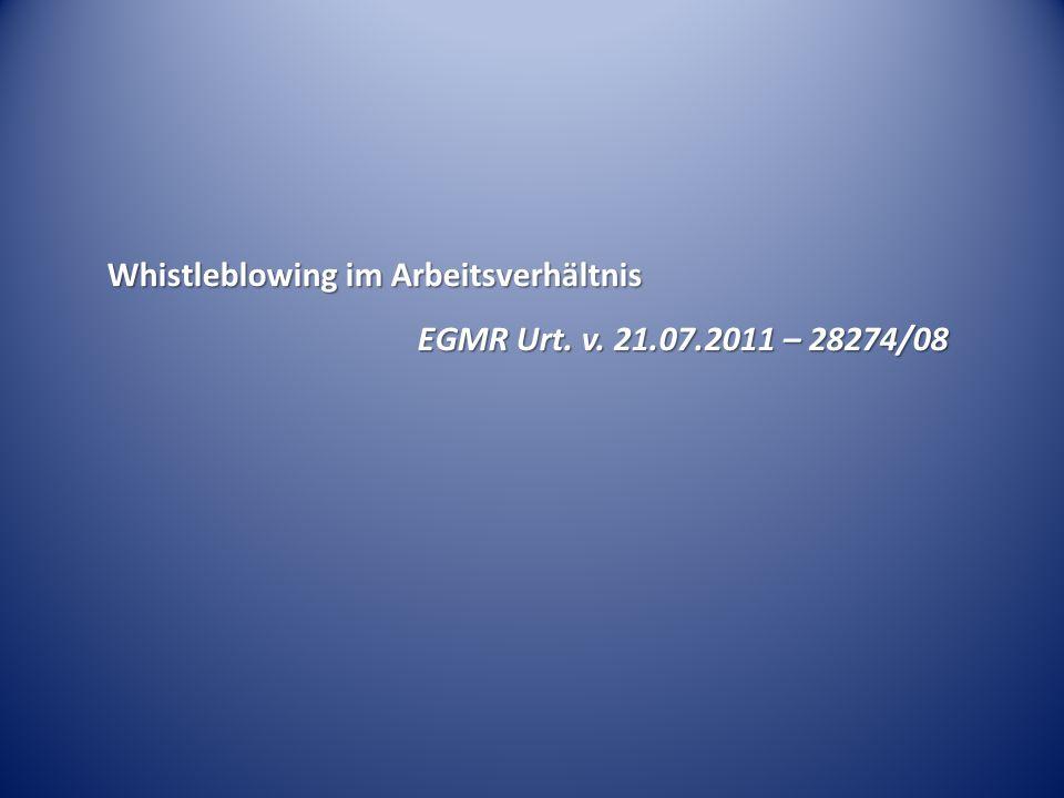 Whistleblowing im Arbeitsverhältnis