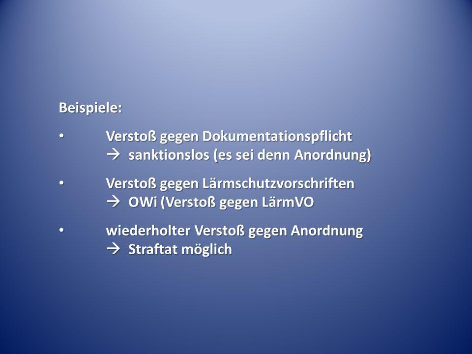 Beispiele: Verstoß gegen Dokumentationspflicht  sanktionslos (es sei denn Anordnung)