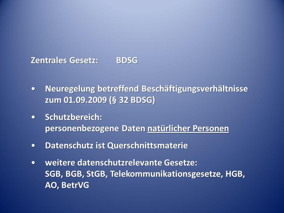 Zentrales Gesetz: BDSG