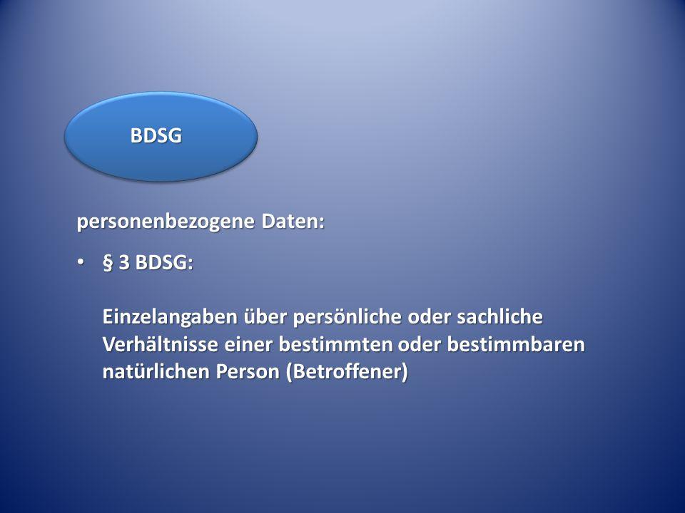 BDSG personenbezogene Daten: