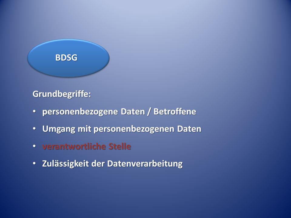 BDSG Grundbegriffe: personenbezogene Daten / Betroffene. Umgang mit personenbezogenen Daten. verantwortliche Stelle.
