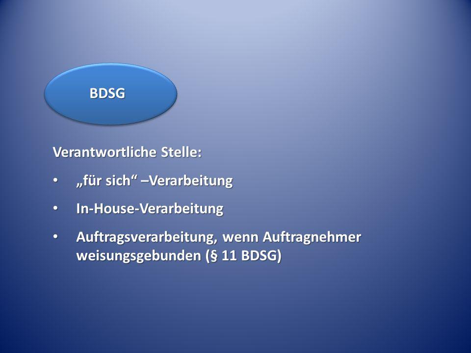 """BDSG Verantwortliche Stelle: """"für sich –Verarbeitung. In-House-Verarbeitung."""