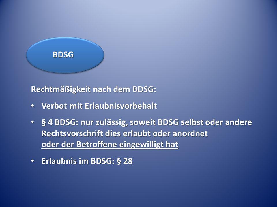 BDSG Rechtmäßigkeit nach dem BDSG: Verbot mit Erlaubnisvorbehalt.