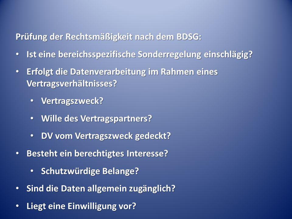 Prüfung der Rechtsmäßigkeit nach dem BDSG: