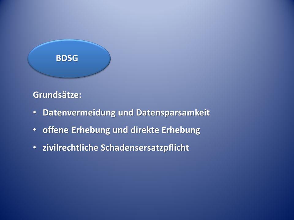 BDSG Grundsätze: Datenvermeidung und Datensparsamkeit.