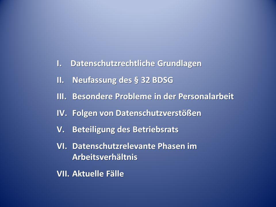 I. Datenschutzrechtliche Grundlagen