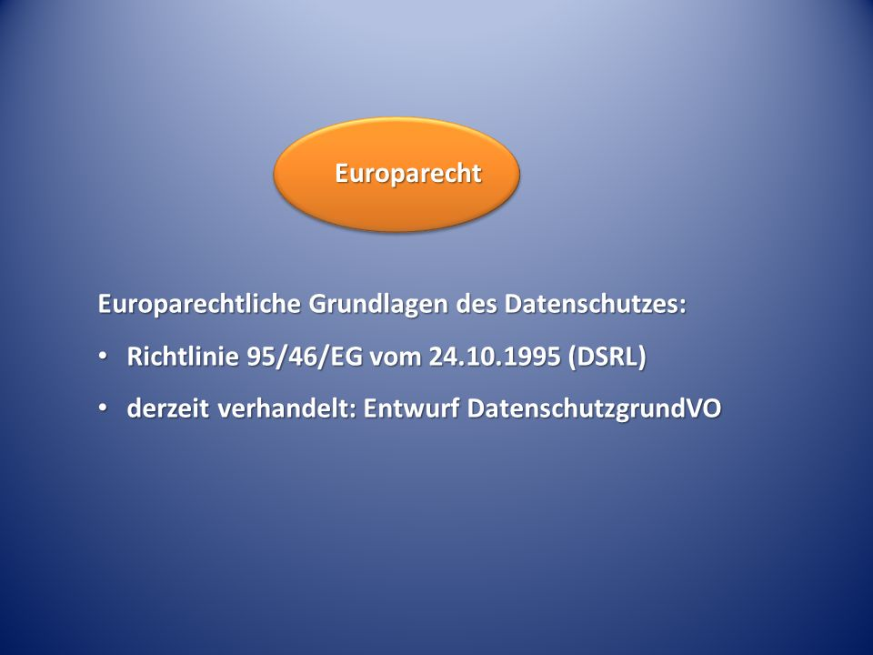 Europarecht Europarechtliche Grundlagen des Datenschutzes: Richtlinie 95/46/EG vom 24.10.1995 (DSRL)