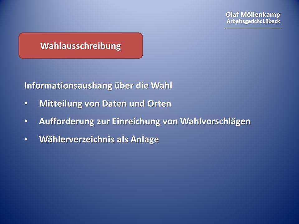 Wahlausschreibung Informationsaushang über die Wahl. Mitteilung von Daten und Orten. Aufforderung zur Einreichung von Wahlvorschlägen.