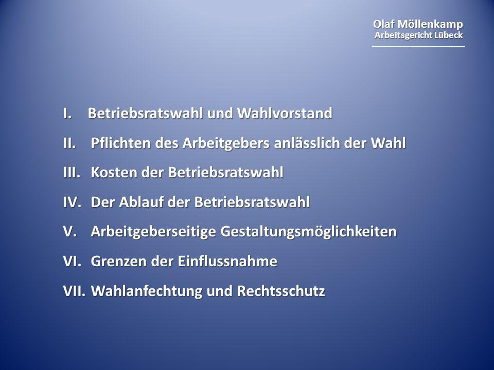 I. Betriebsratswahl und Wahlvorstand