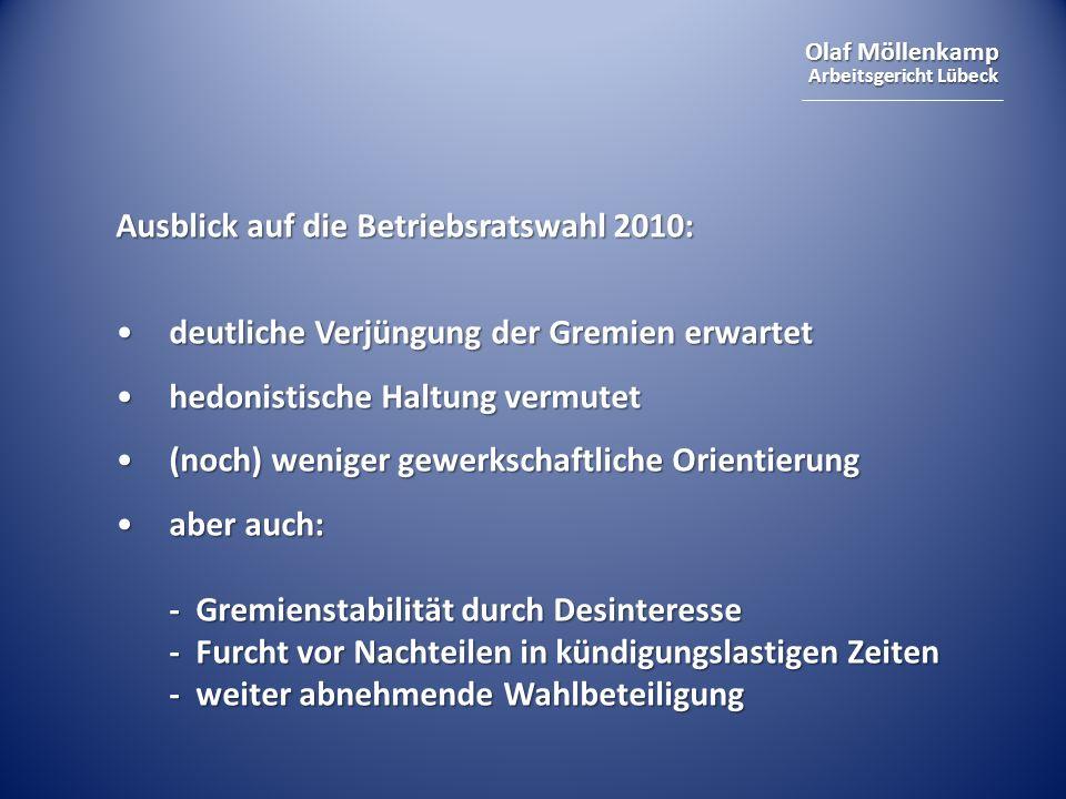 Ausblick auf die Betriebsratswahl 2010: