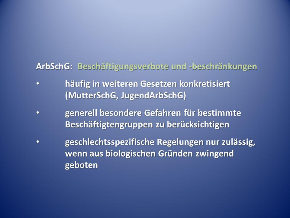 ArbSchG: Beschäftigungsverbote und -beschränkungen