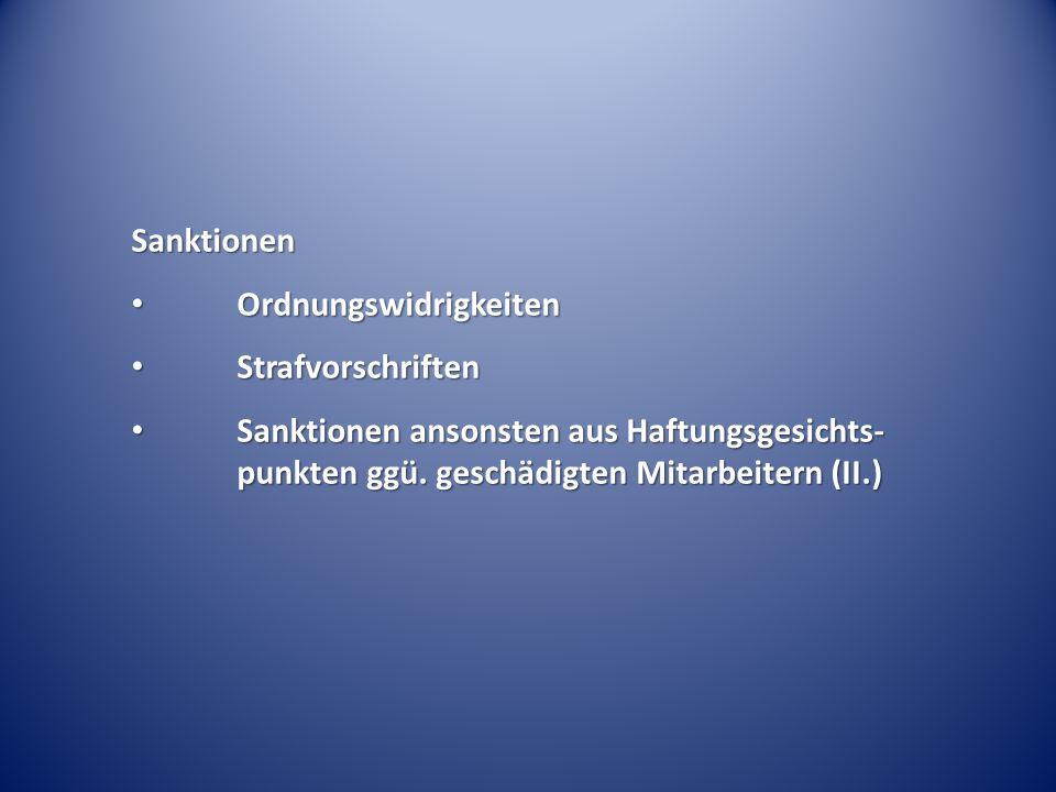 Sanktionen Ordnungswidrigkeiten. Strafvorschriften.