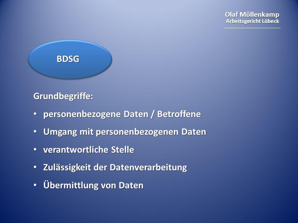 BDSGGrundbegriffe: personenbezogene Daten / Betroffene. Umgang mit personenbezogenen Daten. verantwortliche Stelle.