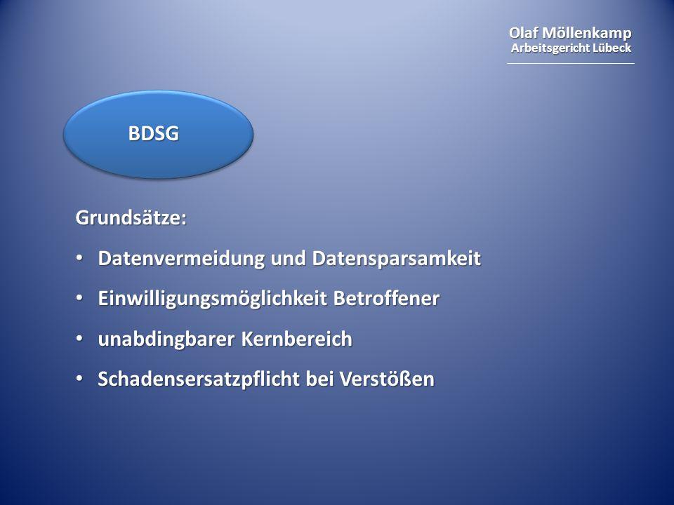 BDSGGrundsätze: Datenvermeidung und Datensparsamkeit. Einwilligungsmöglichkeit Betroffener. unabdingbarer Kernbereich.