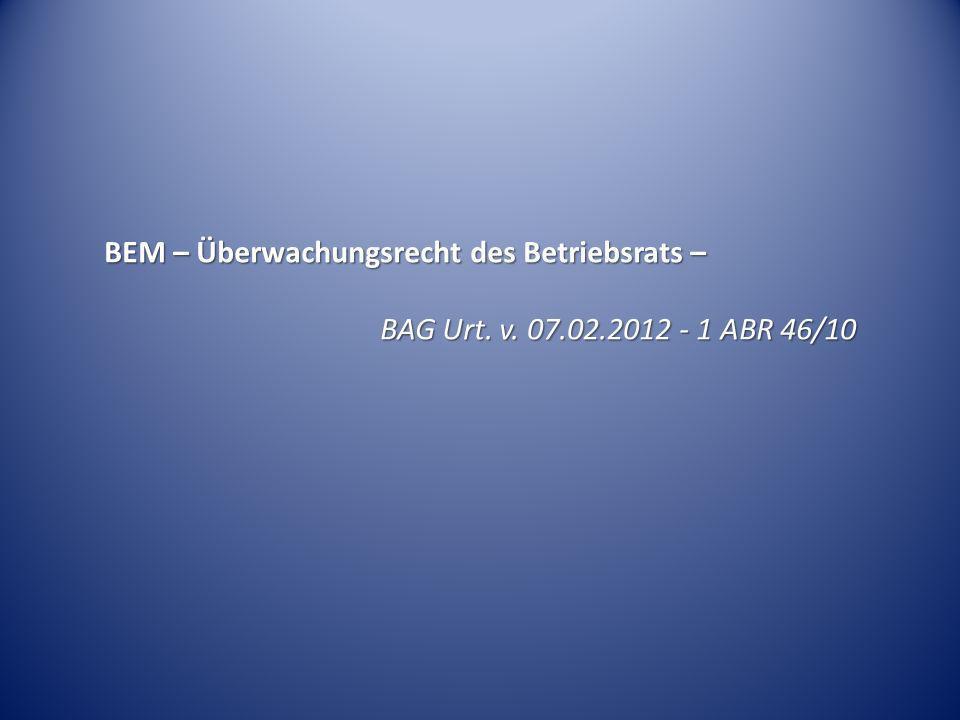 BEM – Überwachungsrecht des Betriebsrats –