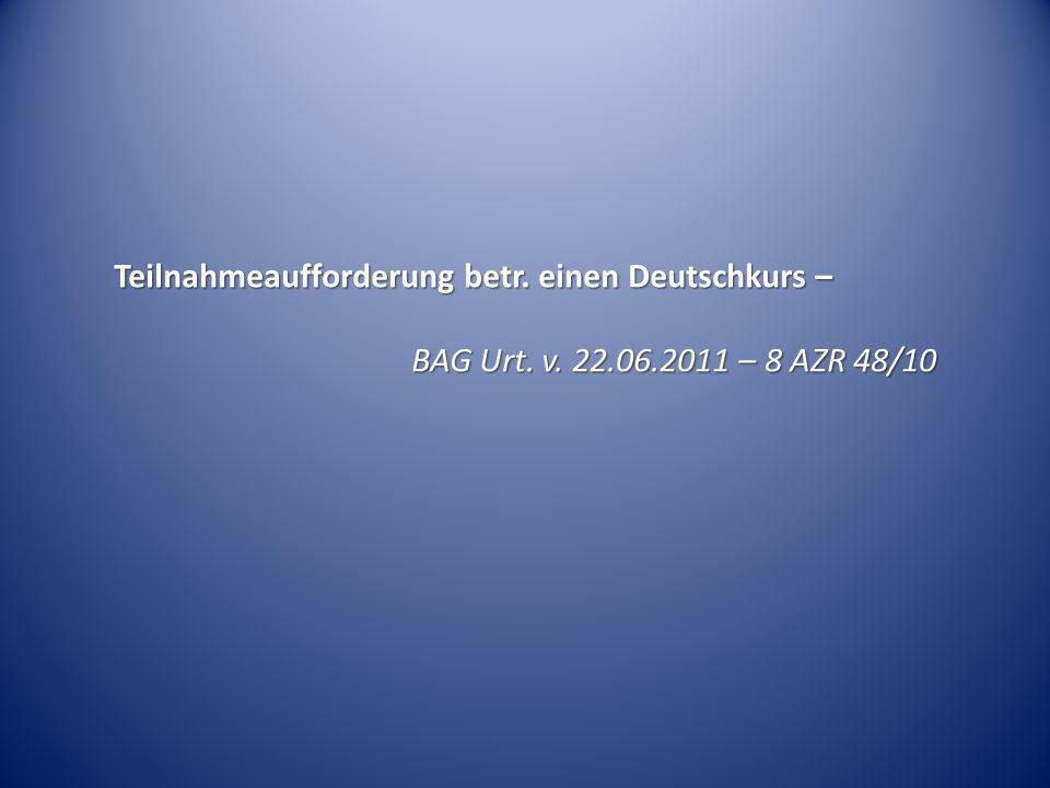 Teilnahmeaufforderung betr. einen Deutschkurs –