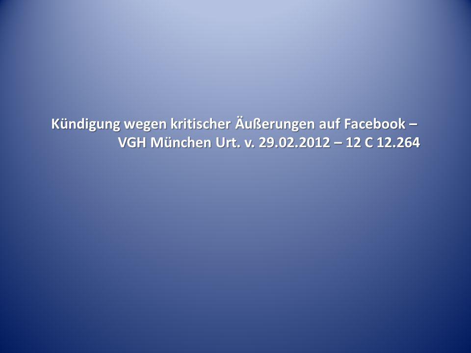 Kündigung wegen kritischer Äußerungen auf Facebook –