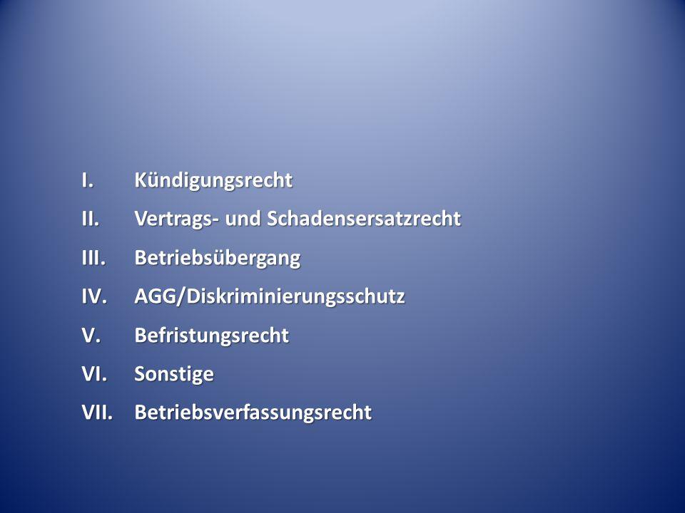 Kündigungsrecht Vertrags- und Schadensersatzrecht. Betriebsübergang. AGG/Diskriminierungsschutz. Befristungsrecht.