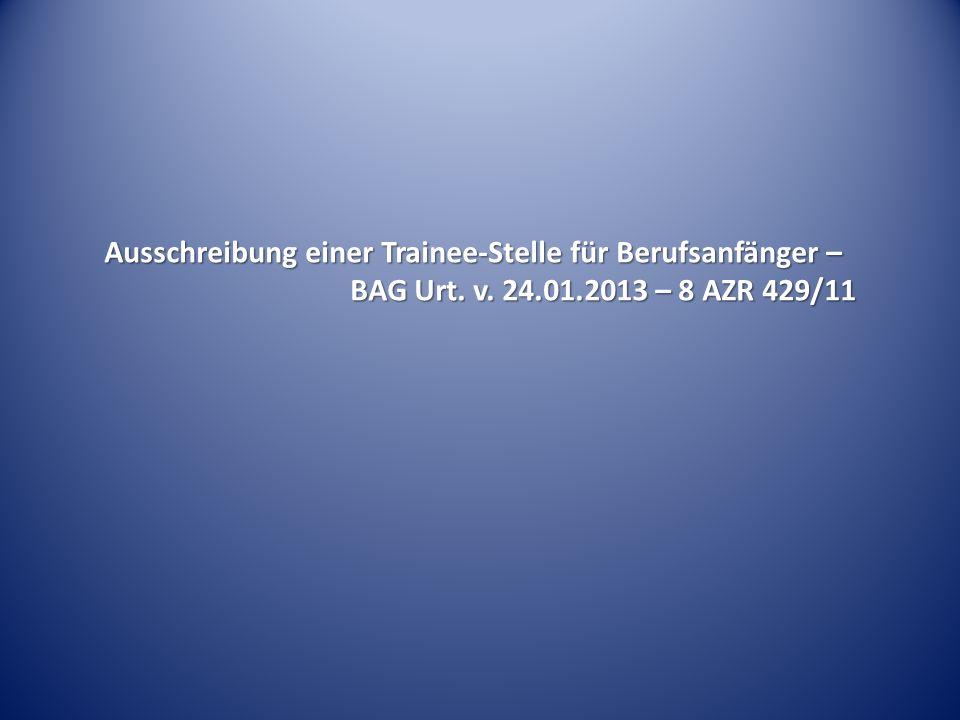 Ausschreibung einer Trainee-Stelle für Berufsanfänger –