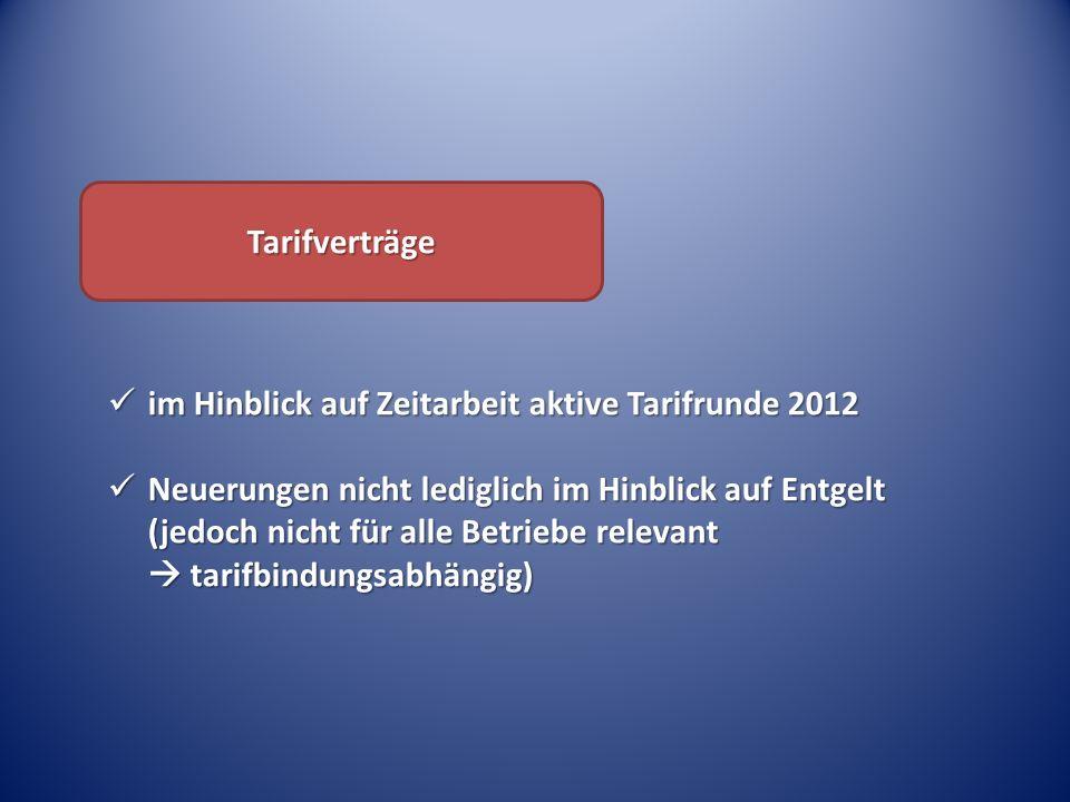 Tarifverträge im Hinblick auf Zeitarbeit aktive Tarifrunde 2012.
