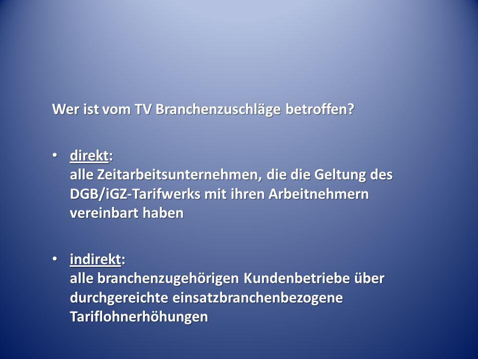 Wer ist vom TV Branchenzuschläge betroffen