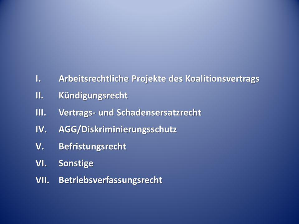 Arbeitsrechtliche Projekte des Koalitionsvertrags