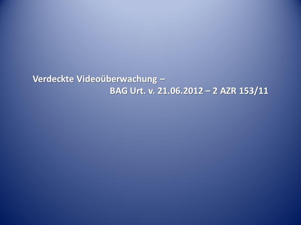Verdeckte Videoüberwachung –