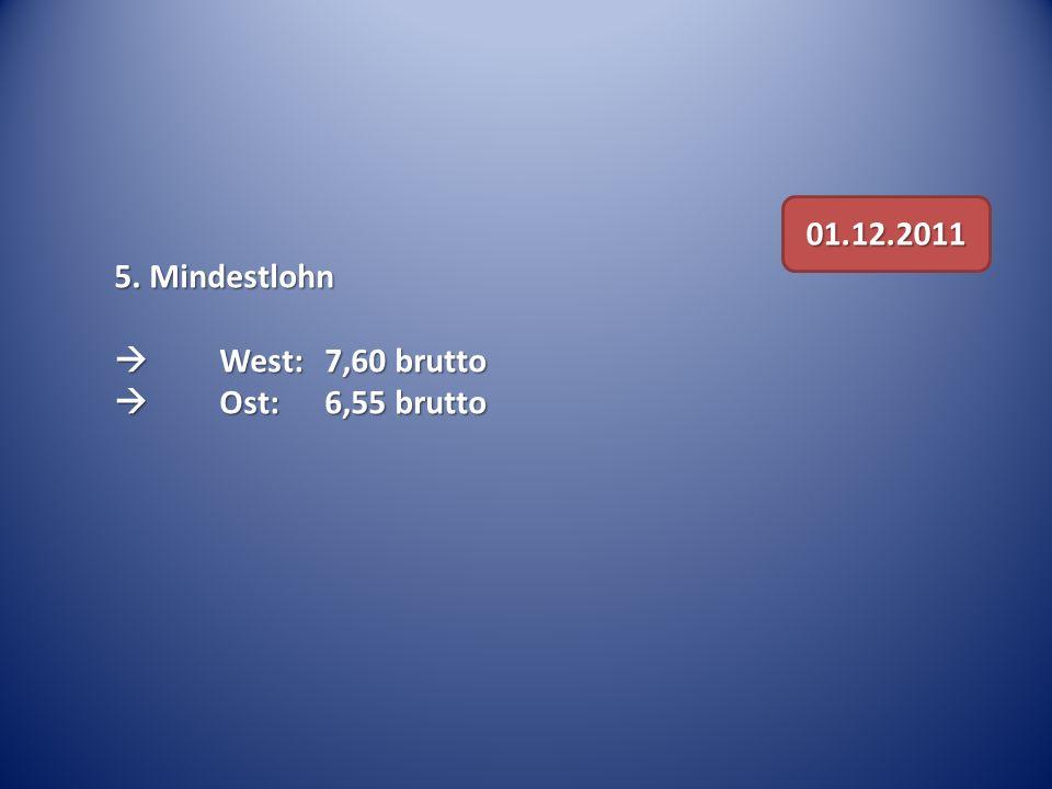 01.12.2011 5. Mindestlohn  West: 7,60 brutto  Ost: 6,55 brutto