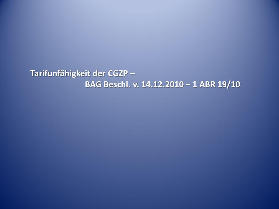 Tarifunfähigkeit der CGZP –
