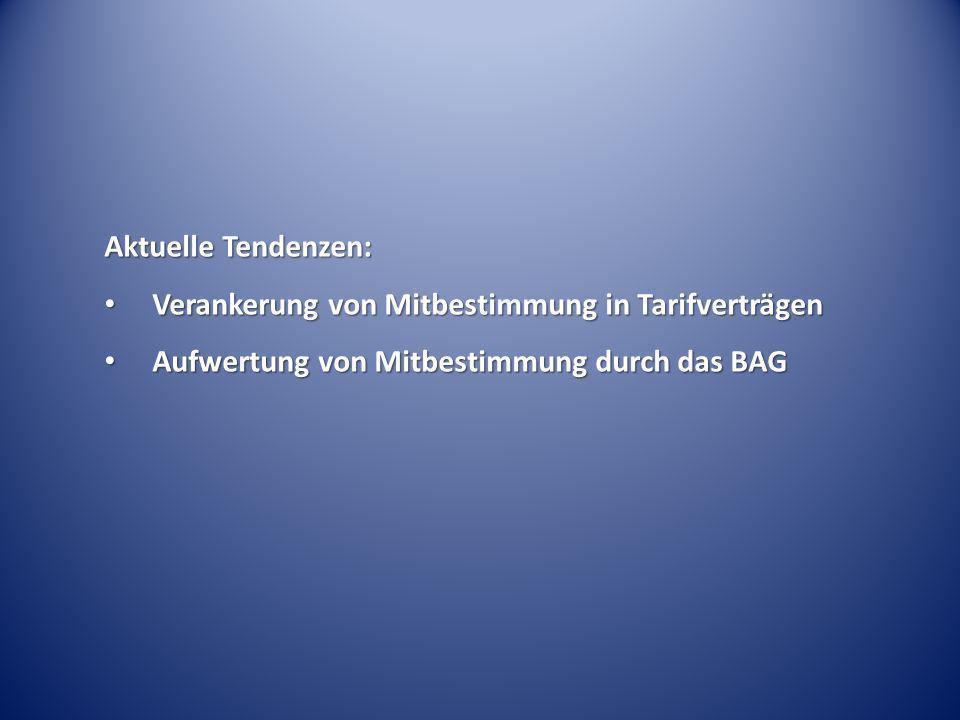 Aktuelle Tendenzen: Verankerung von Mitbestimmung in Tarifverträgen.