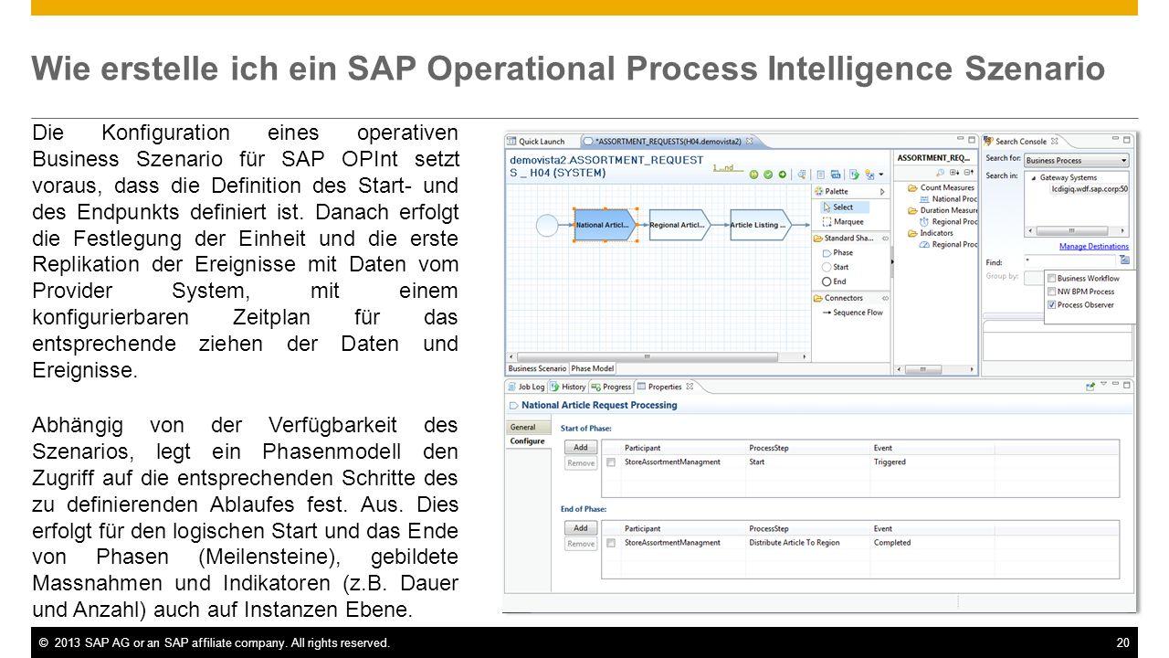 Wie erstelle ich ein SAP Operational Process Intelligence Szenario