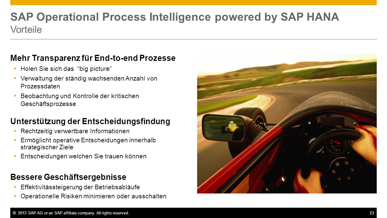 SAP Operational Process Intelligence powered by SAP HANA Vorteile