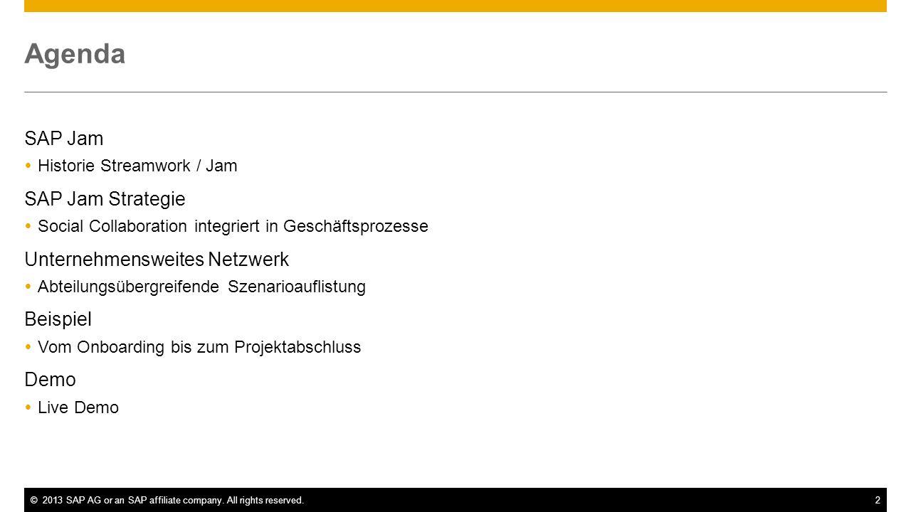 Agenda SAP Jam SAP Jam Strategie Unternehmensweites Netzwerk Beispiel