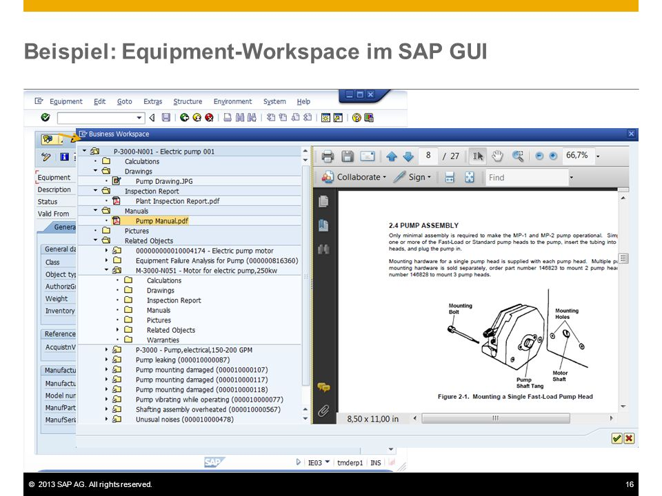 Beispiel: Equipment-Workspace im SAP GUI