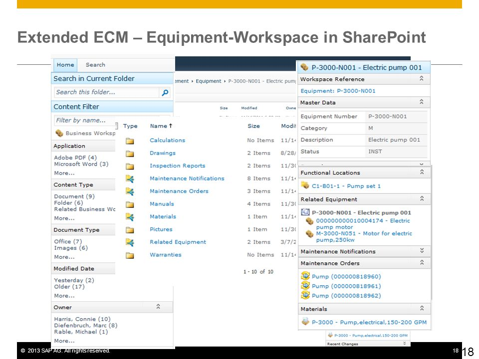 Extended ECM – Equipment-Workspace in SharePoint