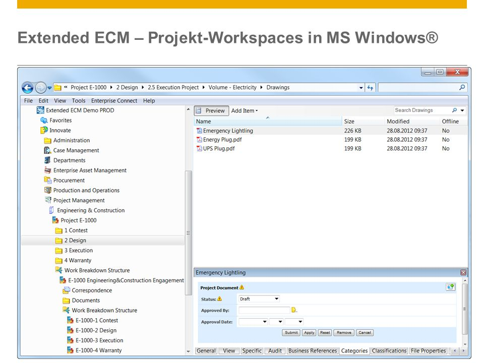Extended ECM – Projekt-Workspaces in MS Windows®