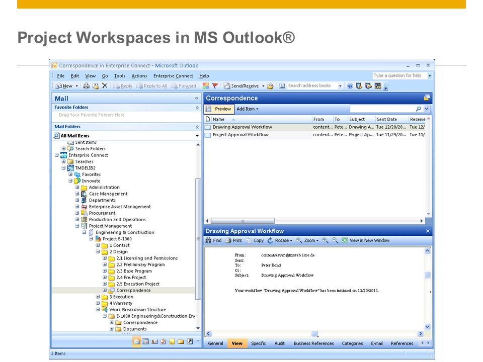 Project Workspaces in MS Outlook®