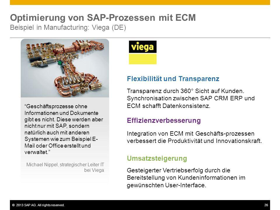 Optimierung von SAP-Prozessen mit ECM Beispiel in Manufacturing: Viega (DE)